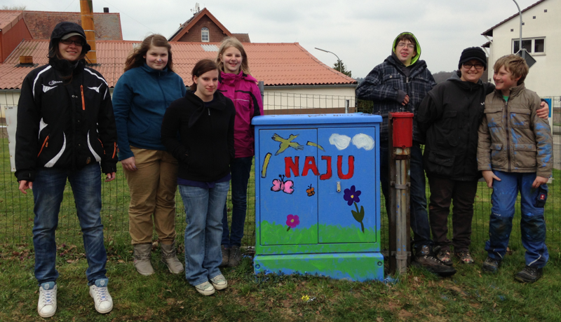 """NAJU bemalt Stromkasten im Rahmen der Aktion """"Windsberg wird bunt"""" (Foto: Stefanie Phillips)"""