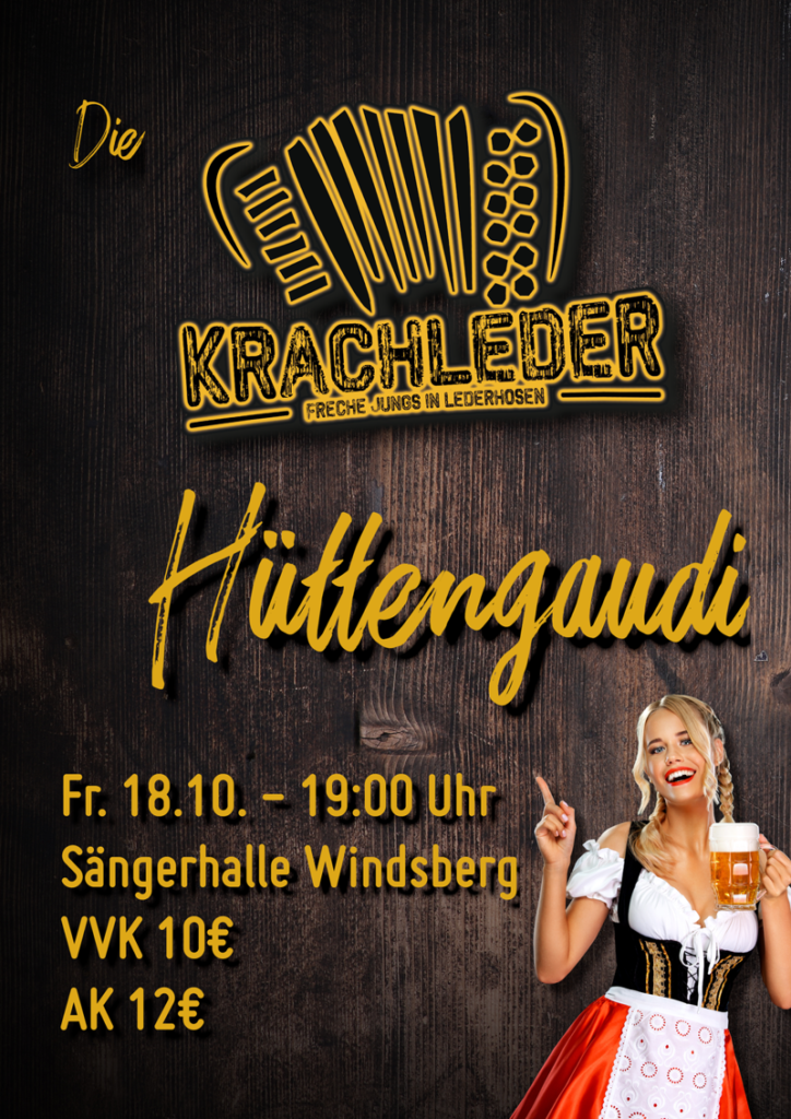 Plakat Hüttengaudi Krachleder 2019 in Windsberg